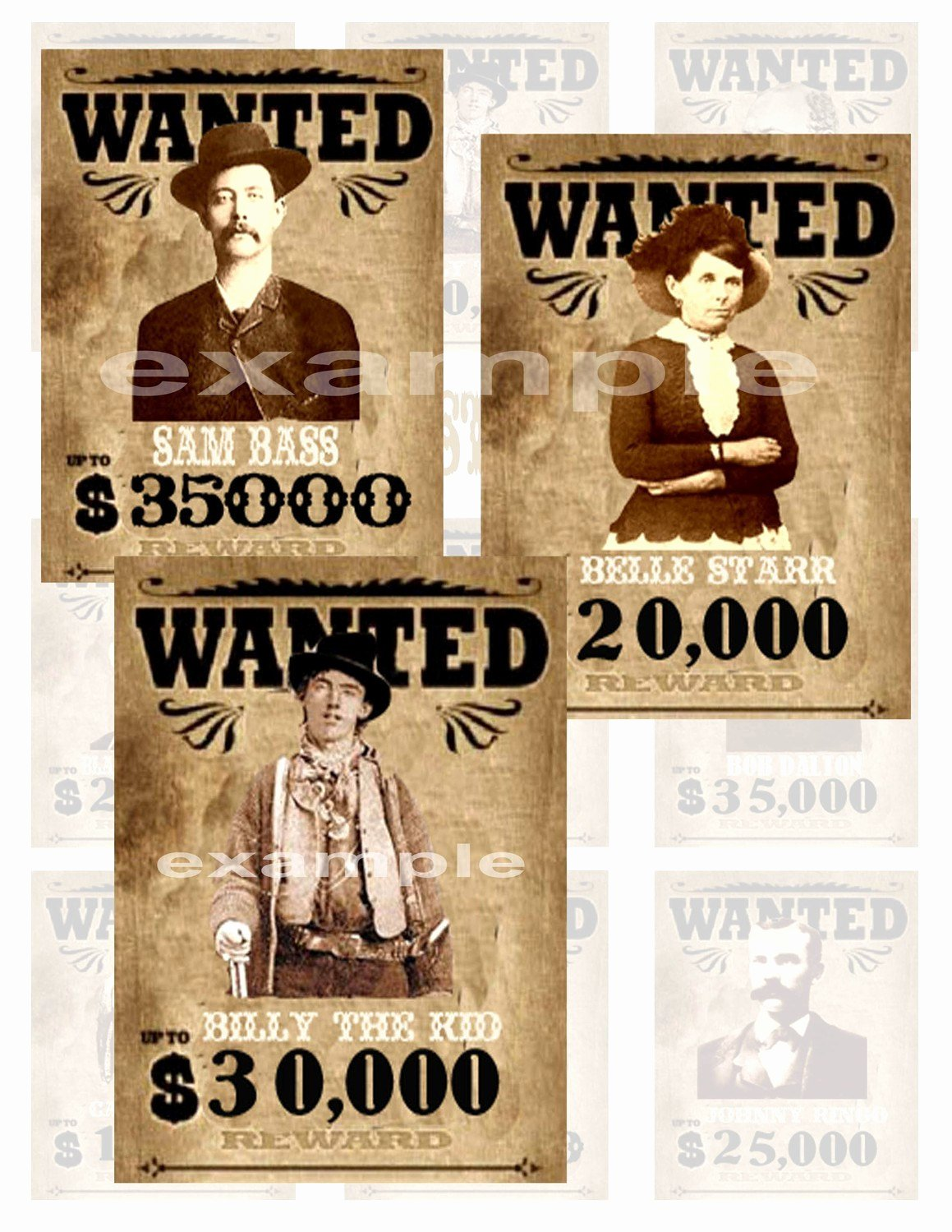 Wild West Wanted Posters Elegant Wild West Outlaws Wanted Posters Digital Collage Sheet