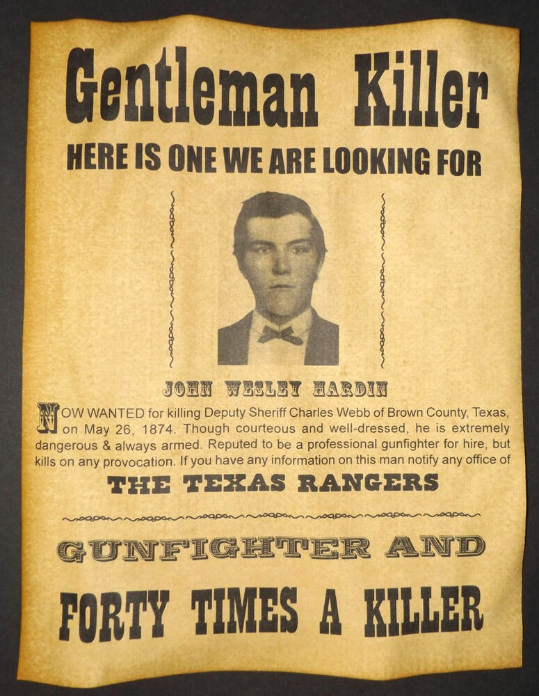 Wild West Wanted Posters Lovely John Wesley Hardin Wanted Poster Western Outlaw Old West Texas Rangers