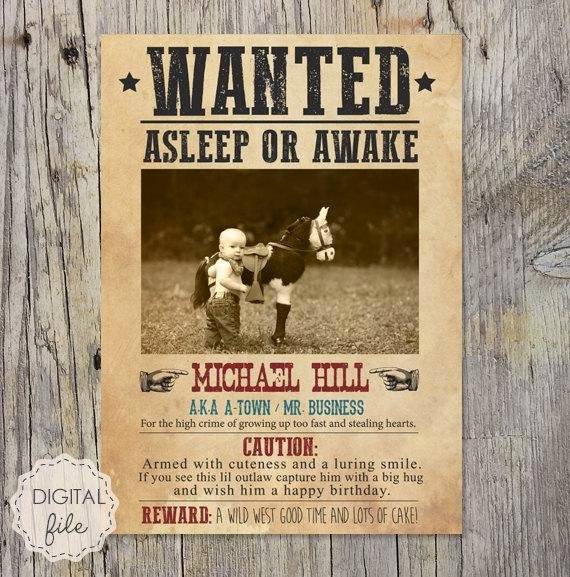 Wild West Wanted Posters Lovely Wanted Poster Wild West theme Personalized Printable