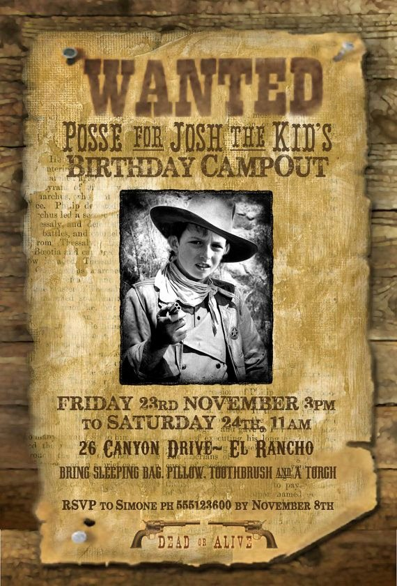 "Wild West Wanted Posters Lovely Wild West ""wanted Poster"" Printable Party Invitation with"
