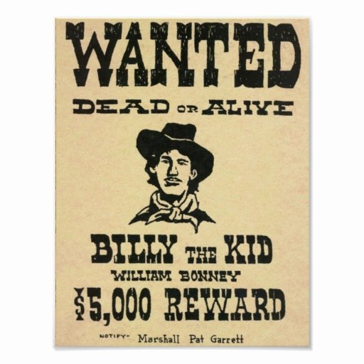 Wild West Wanted Posters New Billy the Kid Old Wild West Wanted Poster