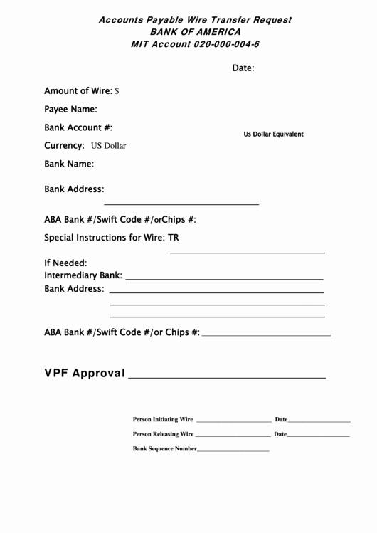 Wire Transfer Instructions Template Beautiful Accounts Payable Wire Transfer Request form Bank