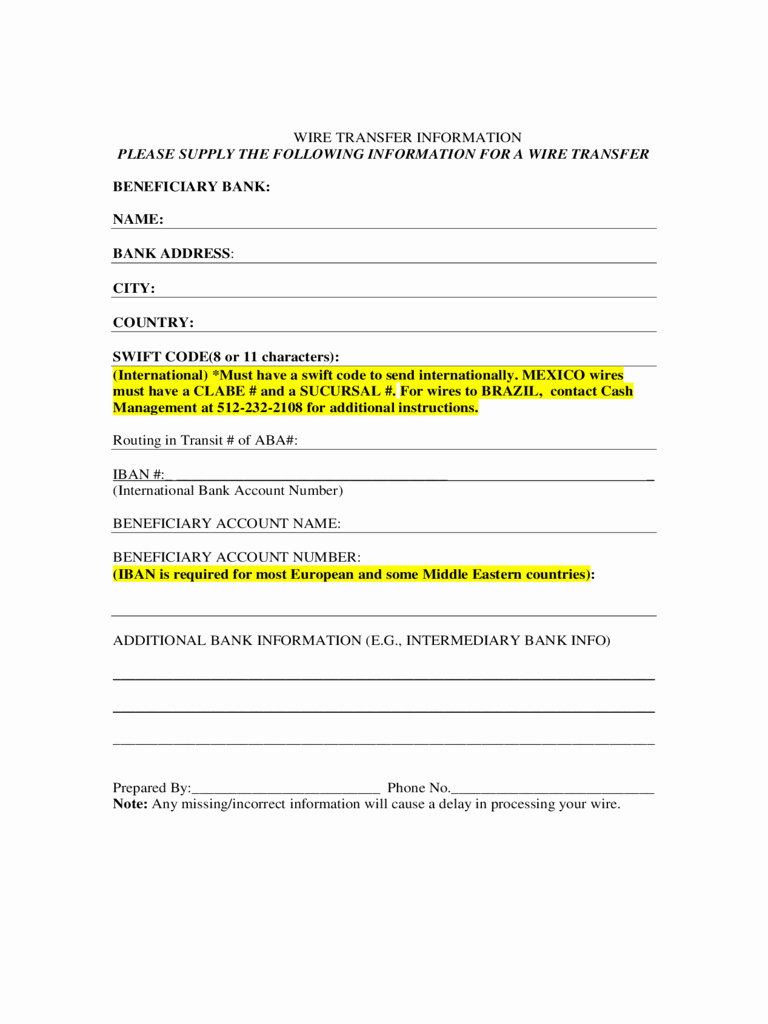 Wire Transfer Instructions Template Elegant 30 Of Wire Request form Template