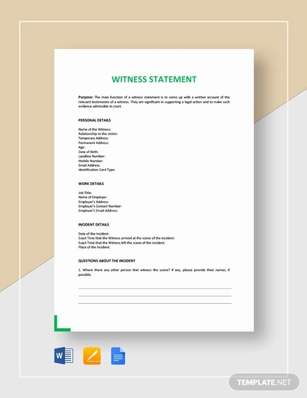 Witness Statement Template Word Best Of 11 Sample Witness Statement Templates Pdf Docs Word