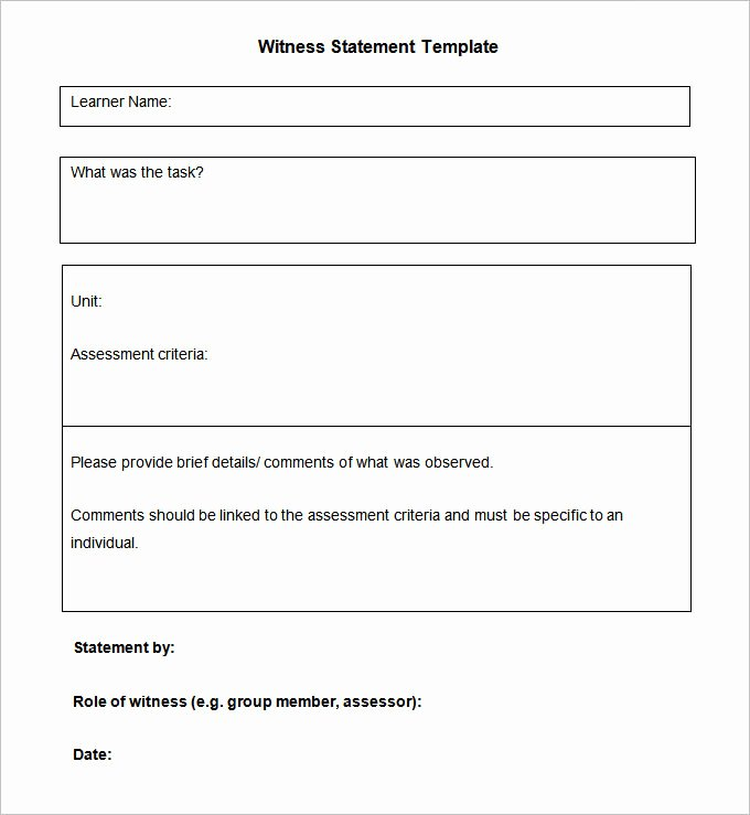Witness Statement Template Word Lovely 11 Sample Witness Statement Templates Pdf Docs Word