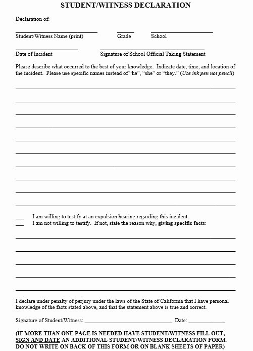 Witness Statement Template Word New 19 Free Witness Statement Templates Ms Fice Documents