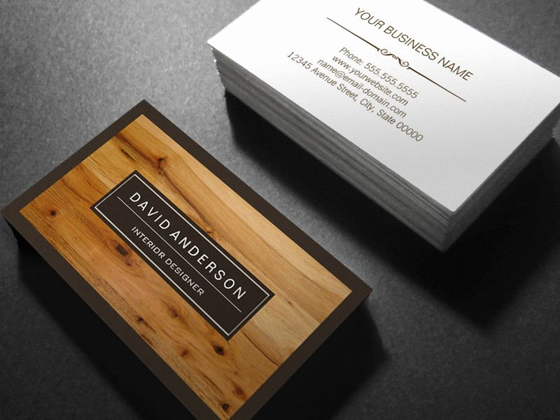 professional modern wood grain look magnetic business card