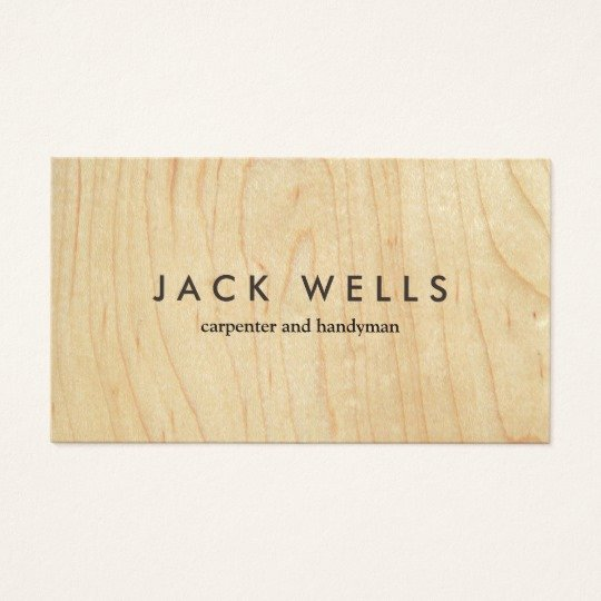 Wood Grain Business Cards Unique Simple Light Wood Grain Carpenter and Handyman Business Card