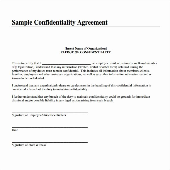 Word Employee Confidentiality Agreement Templates Awesome 7 Confidentiality Agreement Templates – Fine Word Templates
