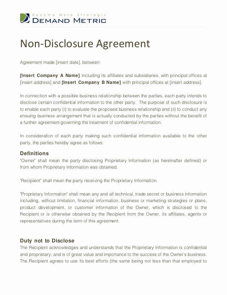 Word Employee Confidentiality Agreement Templates Awesome Non Disclosure Agreement Template