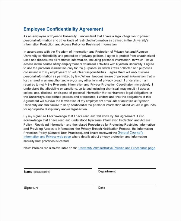 Word Employee Confidentiality Agreement Templates Best Of Sample Employee Confidentiality Agreement 8 Documents