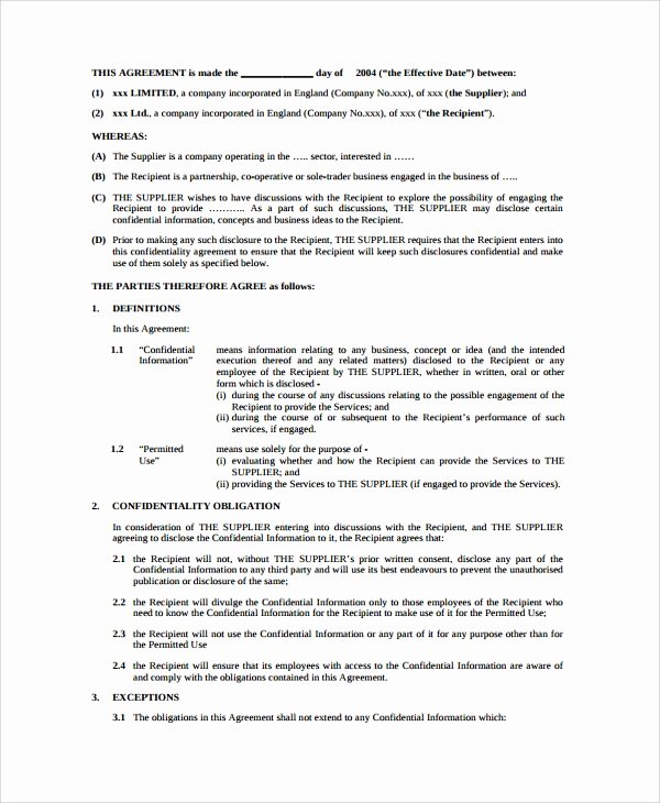 Word Employee Confidentiality Agreement Templates Elegant 10 Sample Employment Confidentiality Agreements Word Pdf