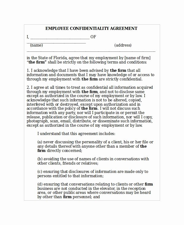 Word Employee Confidentiality Agreement Templates Lovely 35 Confidentiality Agreement Templates Free Word Pdf