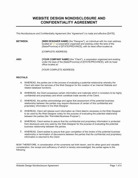 Word Employee Confidentiality Agreement Templates Lovely 6 Non Disclosure Agreement Templates Excel Pdf formats