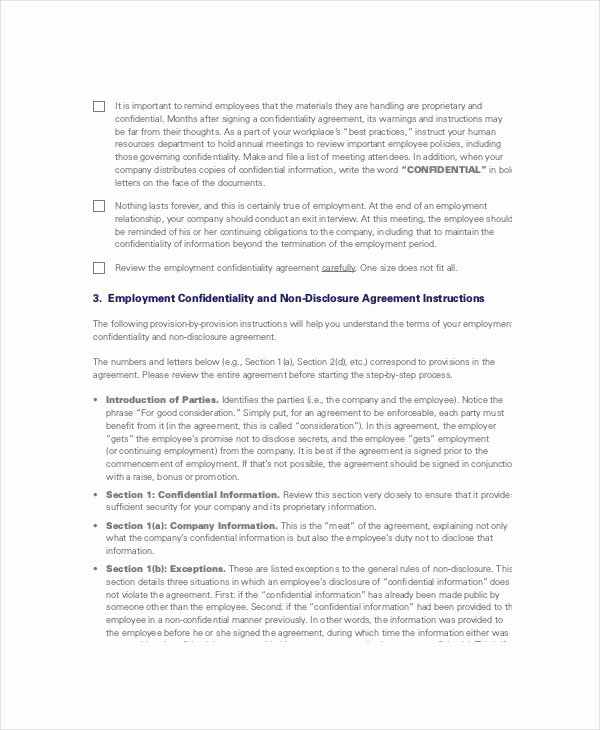 Word Employee Confidentiality Agreement Templates Lovely Non Disclosure and Confidentiality Agreement 13 Free