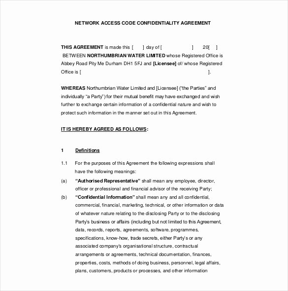 Word Employee Confidentiality Agreement Templates New 16 Confidentiality Agreement Templates – Free Word Pdf format Download