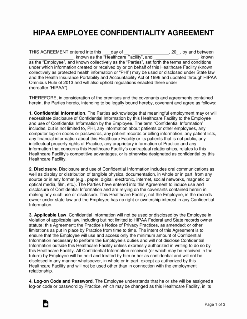 Word Employee Confidentiality Agreement Templates New Free Hipaa Employee Confidentiality Agreement Pdf Word