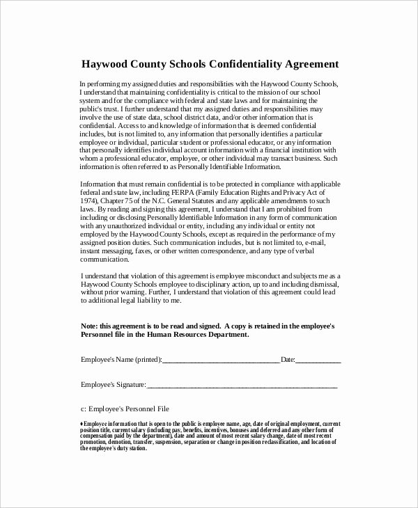 Word Employee Confidentiality Agreement Templates Unique 12 Human Resources Confidentiality Agreement Templates Free Sample Example format Download