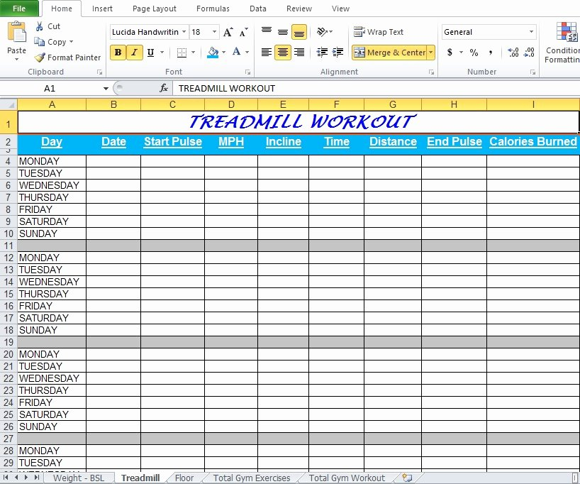 Workout Plan Template Excel Awesome Gym Workout Plan Spreadsheet for Excel Excel Tmp