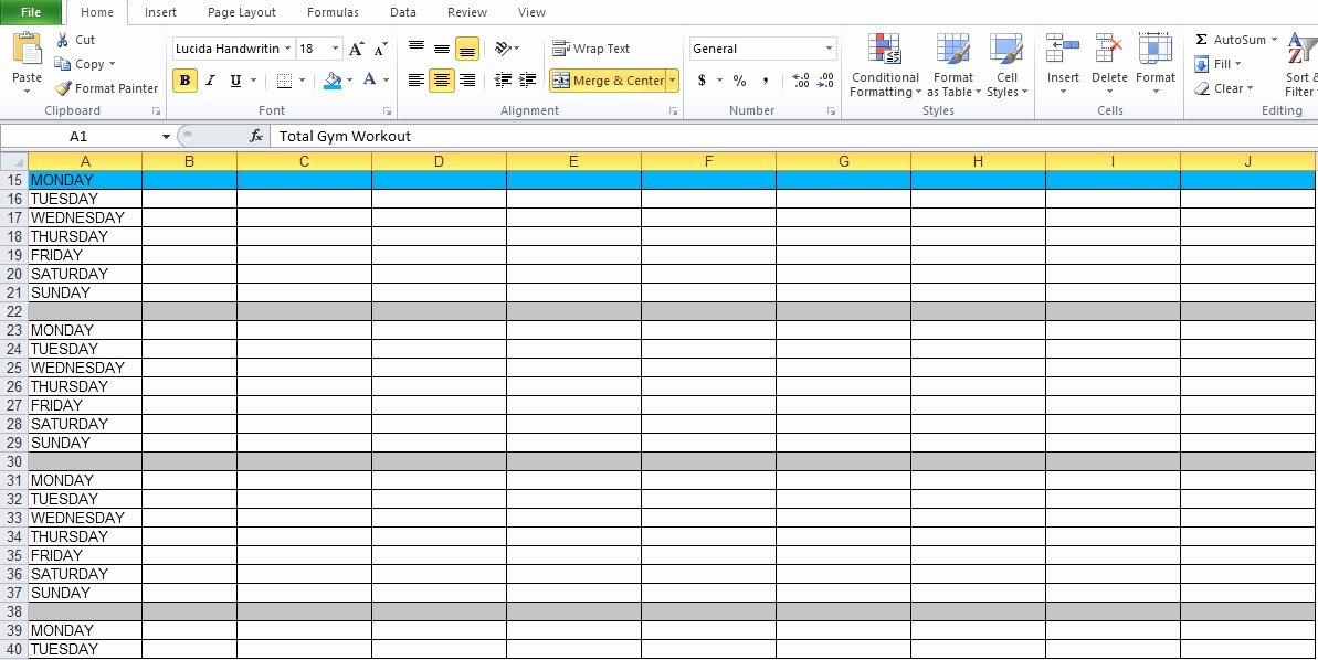Workout Plan Template Excel Beautiful Gym Workout Plan Spreadsheet for Excel Excel Tmp