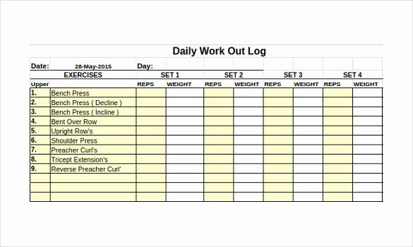 Workout Plan Template Excel Elegant Workout Log Template – 14 Free Word Excel Pdf Vector Eps format Download