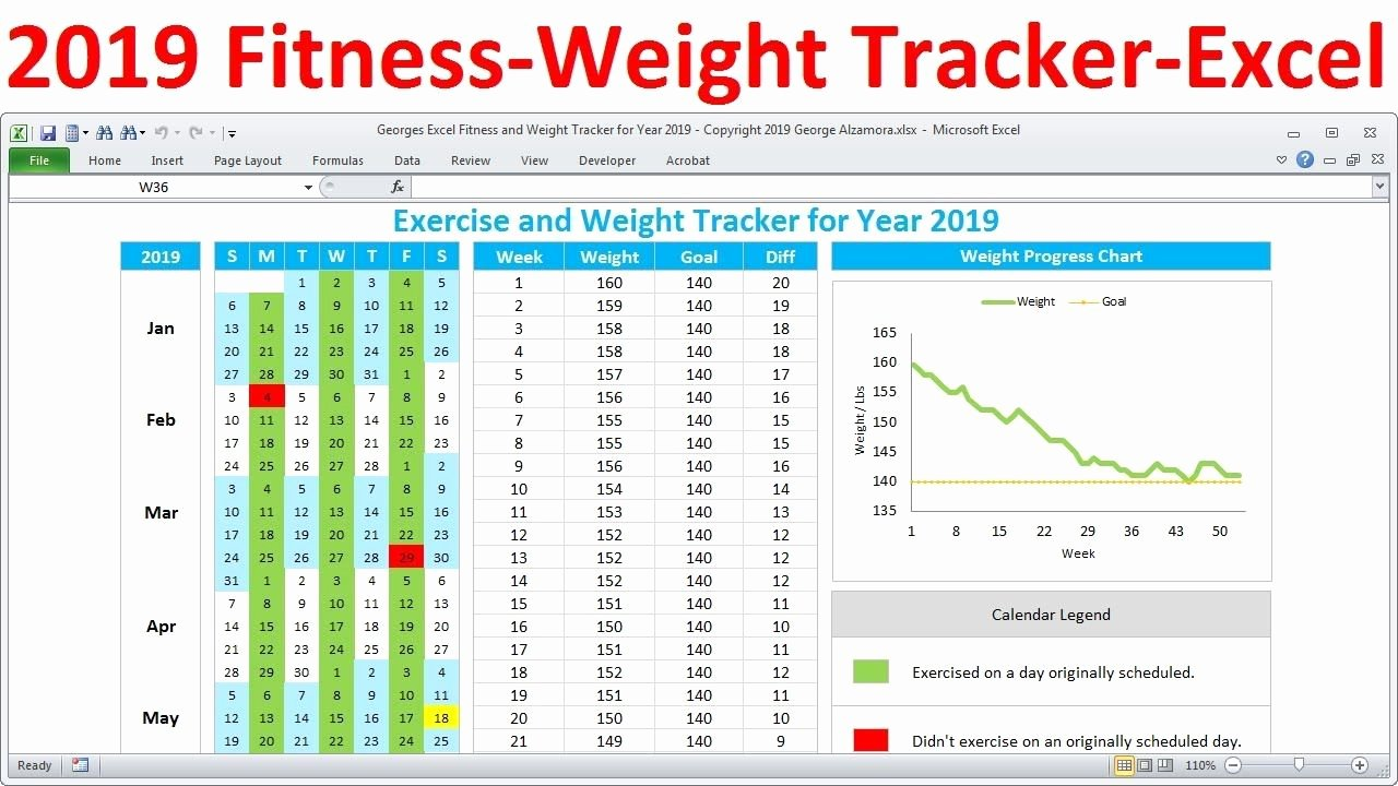 Workout Plan Template Excel Luxury Fitness Tracker and Weight Loss Tracker for 2019 Workout Pl…