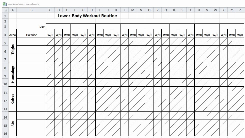 Workout Plan Template Excel Unique Excel Workout Routine Sheets