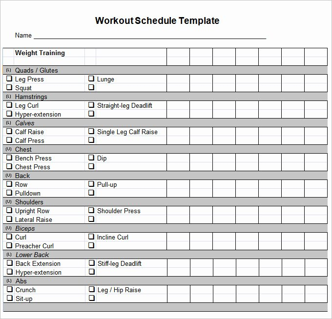 Workout Schedule Template Excel Beautiful Workout Schedule Template 27 Free Word Excel Pdf format Download