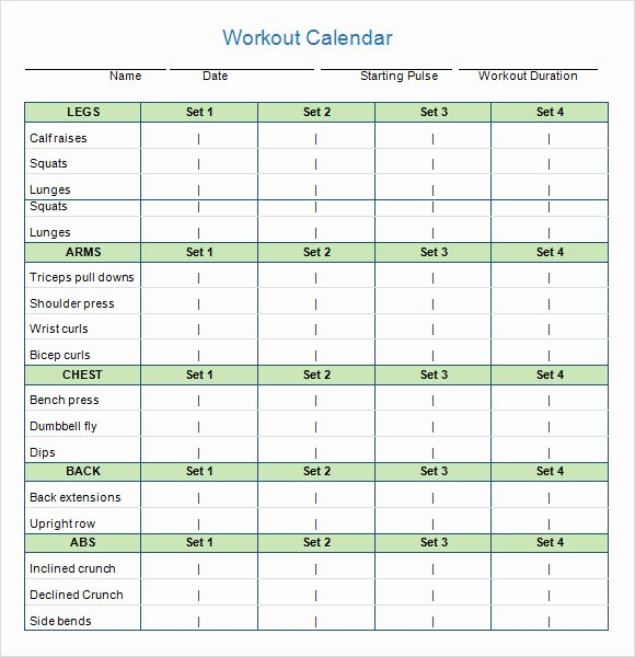 Workout Schedule Template Excel Best Of 10 Sample Workout Calendar Templates In Pdf