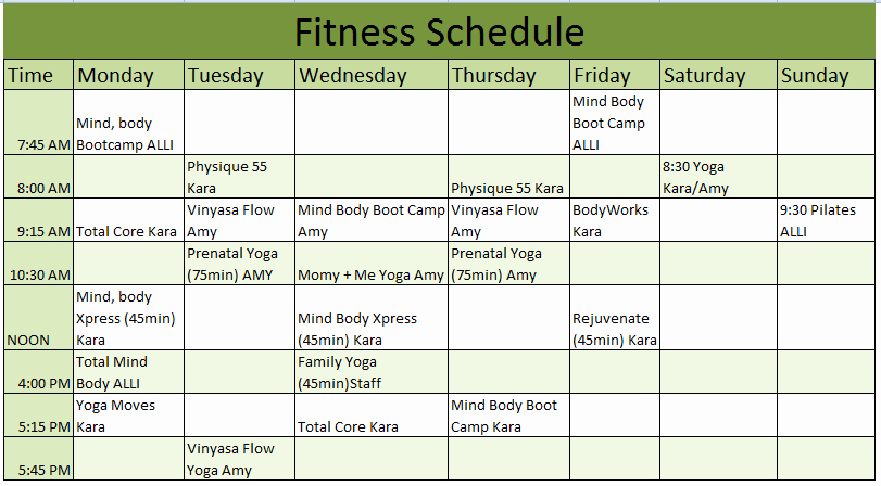 Workout Schedule Template Excel Best Of 3 Free Exercise Schedule Templates Schedule Templates