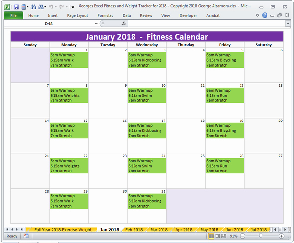 Workout Schedule Template Excel Elegant Excel Fitness Weight Loss Tracker Template for Year 2018 Printable – Buyexceltemplates
