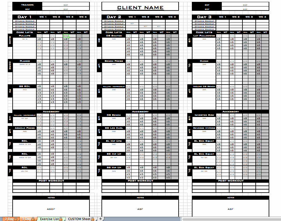 Workout Schedule Template Excel Fresh Excel Personal Training Templates Excel Training Designs