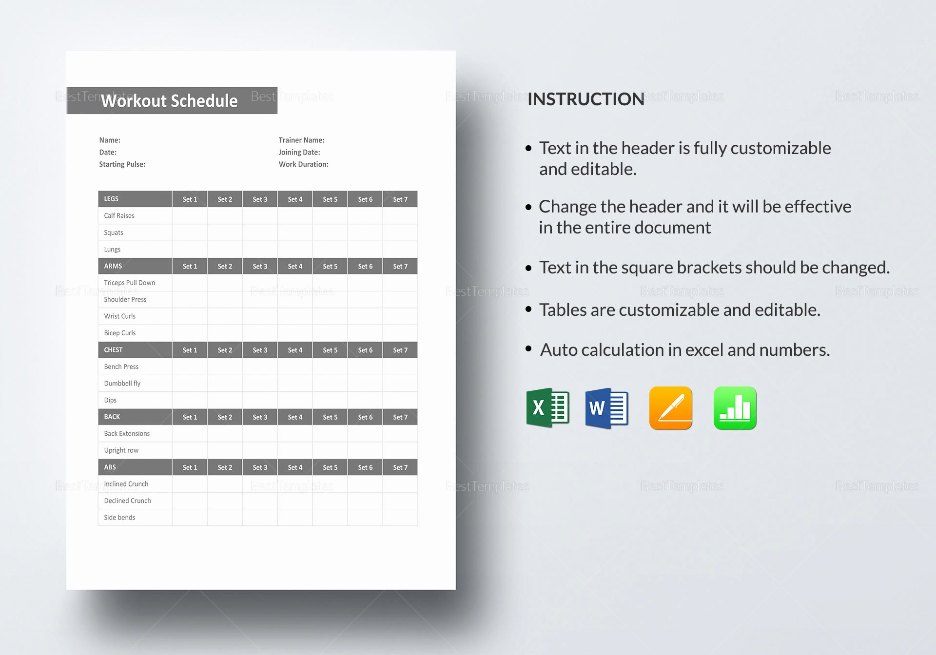 Workout Schedule Template Excel New Weekly Workout Schedule Template In Word Excel Apple Pages Numbers