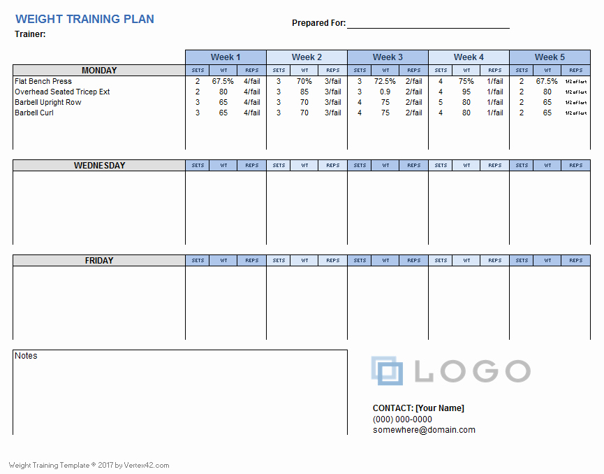 Workout Schedule Template Excel Unique Weight Training Plan Template for Excel