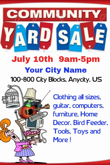 Yard Sale Flyer Template Beautiful Munity Yard Sale Template