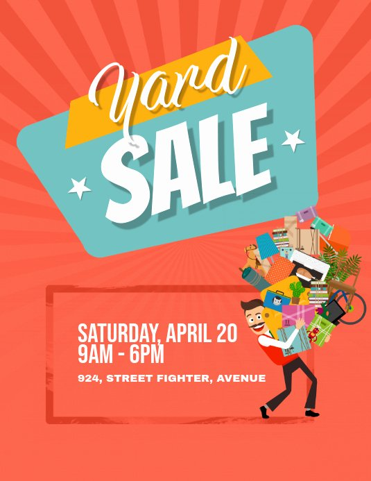 Yard Sale Flyer Template Fresh Yard Garage Sale Flyer Poster Template