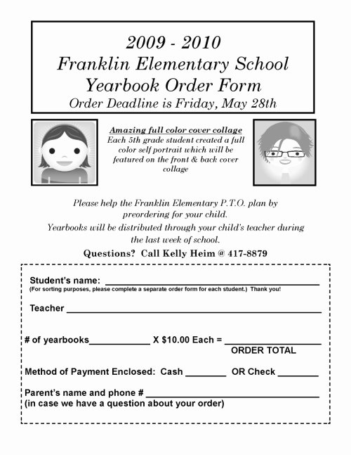 Yearbook order form Template New Elementary Yearbook order form