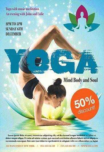 Yoga Flyer Template Free Lovely Yoga Lessons Psd Flyer – by Elegantflyer