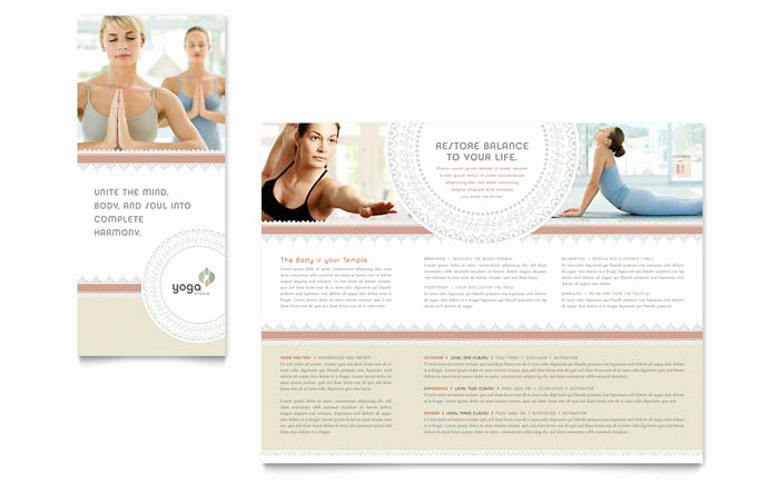 Yoga Flyer Template Free New Pilates & Yoga Tri Fold Brochure Template Design