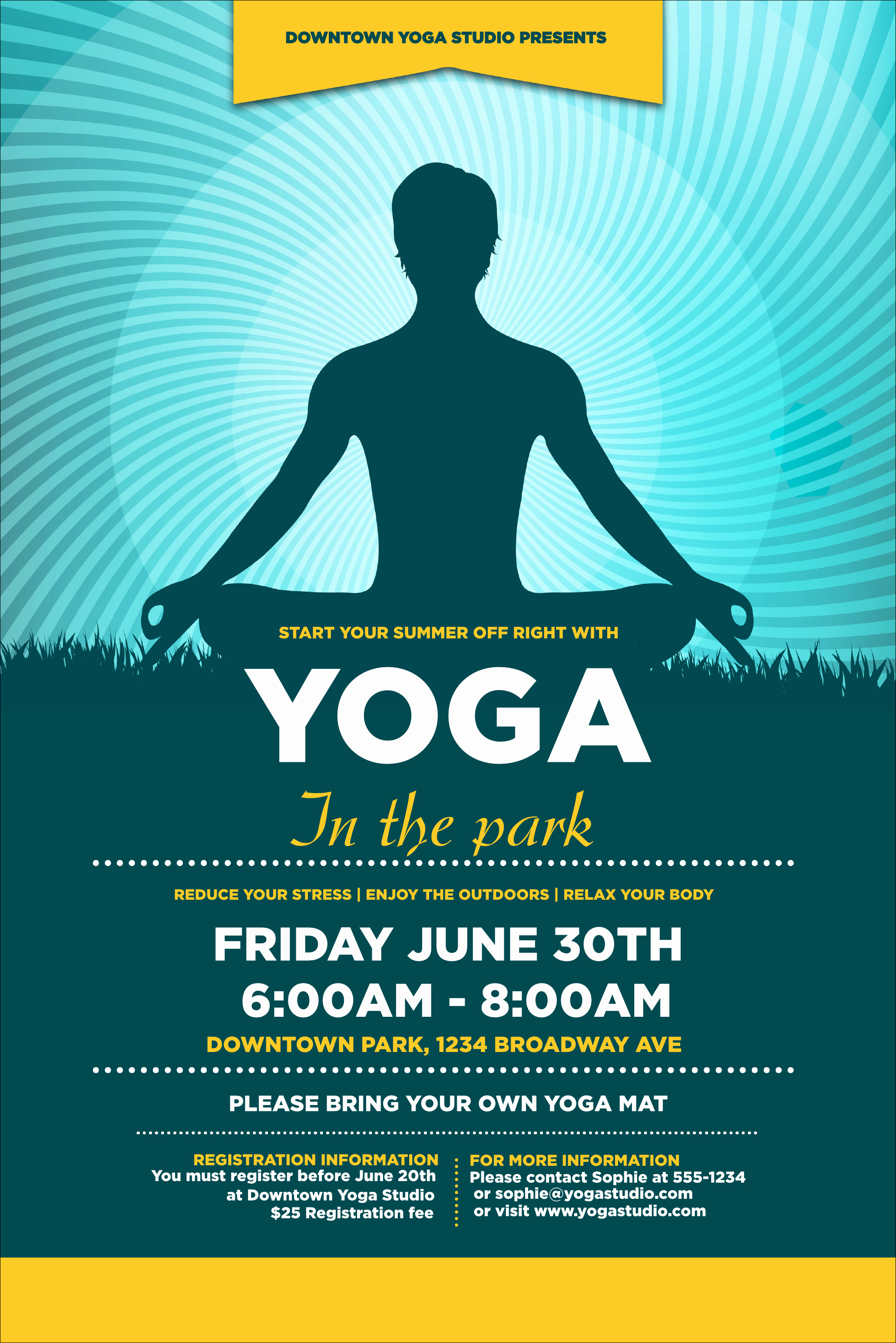 Yoga Flyer Template Free New Yoga Meditation Poster