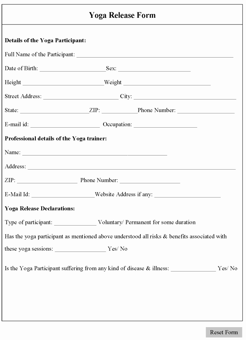 Yoga Waiver form Template Awesome Yoga Waiver form