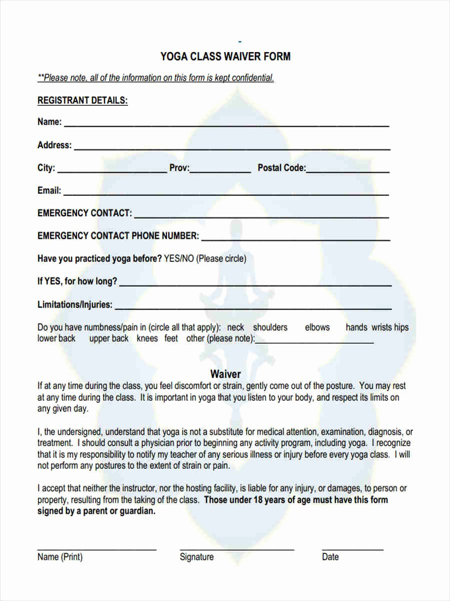 Yoga Waiver form Template Awesome Yoga Waiver form Template – Blog Dandk