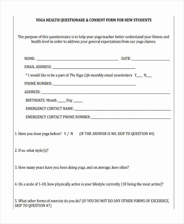 Yoga Waiver form Template Beautiful Free 41 Consent form In Templates
