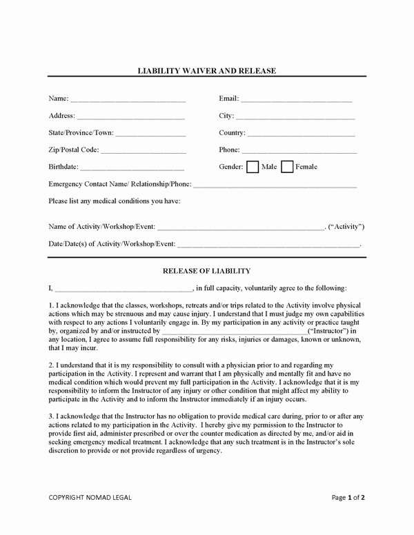 Yoga Waiver form Template Beautiful Yoga Liability Waiver – Blog Dandk