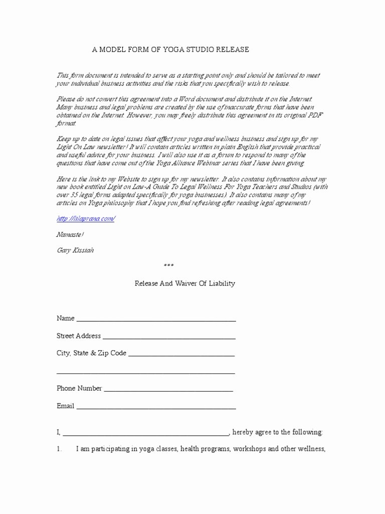 Yoga Waiver form Template Elegant Yoga Waiver form Alliance – Blog Dandk
