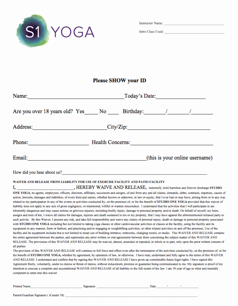 Yoga Waiver form Template Lovely Line Waiver — Studio E Yoga
