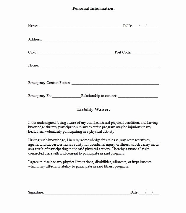 Yoga Waiver form Template Luxury Printable Sample Release and Waiver Liability Agreement form