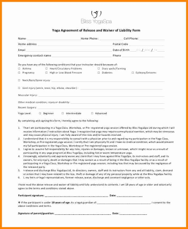 Yoga Waiver form Template New 5 Example Of A Waiver
